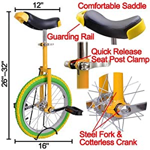 """20"""" in Colorized Wheel Uni Cycle Skidproof Unicycle w Stand Cycling Yellow Green"""