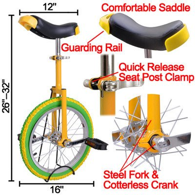 Learn More About 20 in Colorized Wheel Uni-Cycle Skidproof Unicycle w Stand Cycling Yellow Green