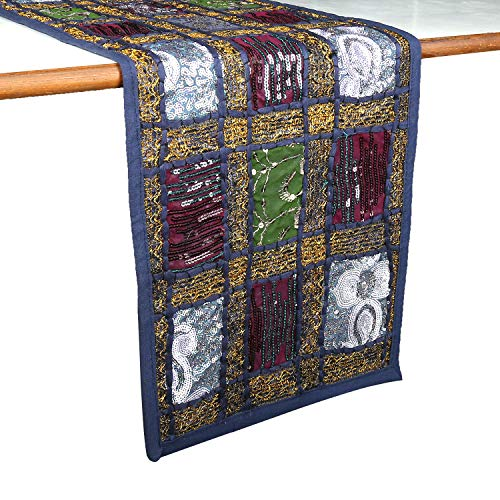 Rajrang Vintage Style Sequin Rajasthani Patchwork Table Runner   Decorative Luxury Coffee Table Living Room Birthday Shower Hippie Decor   12x72 Inche