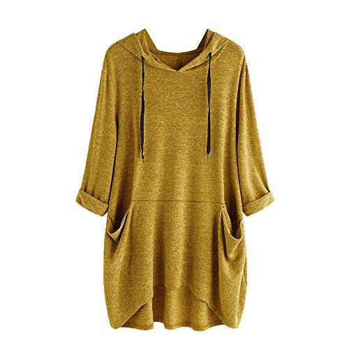 iLUGU Women Fashion 3/4 Sleeves Flower Embroidered Loose T Shirt Dress (Womens Flower Dress Jumper)