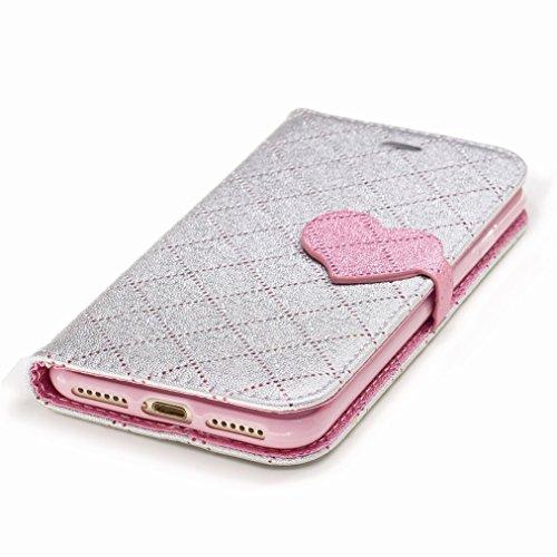 Yiizy Apple IPhone 7 Custodia Cover, Amare Design Sottile Flip Portafoglio PU Pelle Cuoio Copertura Shell Case Slot Schede Cavalletto Stile Libro Bumper Protettivo Borsa (Grigio)