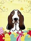 Caroline's Treasures BB1925GF Basset Hound Easter Egg Hunt Garden Flag, Small, Multicolor