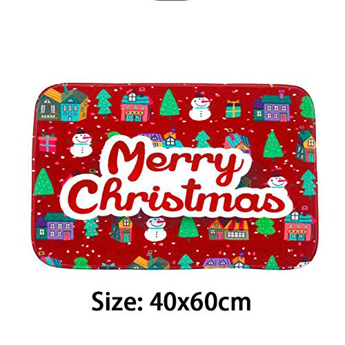 Noon-Sunshine decorative-plaques Merry Christmas Door Mat Santa Claus Flannel Outdoor Carpet Christmas Decorations for Home Xmas Party Favors Year,Style 7