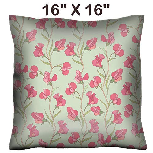 (Liili 16x16 Throw Pillow Cover - Decorative Euro Sham Pillow Case Polyester Satin Soft Handmade Pillowcase Couch Sofa Bed Floral Seamless Texture with Sweet Pea Flowers Photo 19620982)
