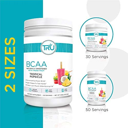 TRU BCAA, Plant Based Branched Chain Amino Acids, Vegan Friendly, Zero Calories, No artificials sweeteners or Dyes, Improve Fat Loss, 50 Servings (Tropical Popsicle) 4