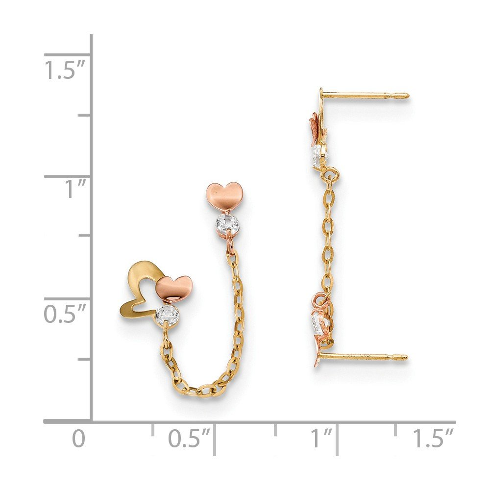 14K Rose And Yellow Gold Madi K Childrens 8.15 MM CZ Double Post with Chain Heart Stud Earring