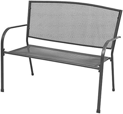 vidaXL Banco de jardín de malla metálica con reposabrazos 108x60x88 cm: Amazon.es: Hogar