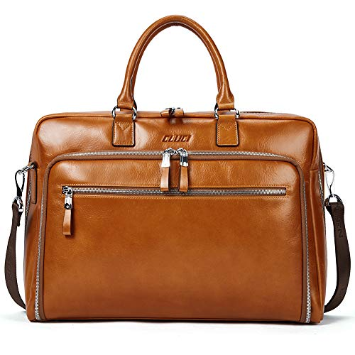 - Cluci Oil Wax Genuine Leather Briefcases for Men Slim 15.6 Inch Laptop Business Shoulder Bags for Women