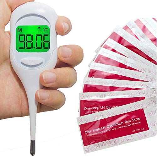 Digital Basal Thermometer with Backlight for Ovulation Tracking BBT (1/100th Accuracy) Bundled with 50 Ovulation (LH) Test Strips for Natural Family Planning (NFP)