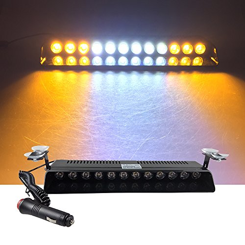 12V Car Truck Emergency Strobe Flash Light Sucker Dashboard Interior Windshield Warning Light Bar Current (12LED, Amber White Amber) (Truck Strobe Lights)