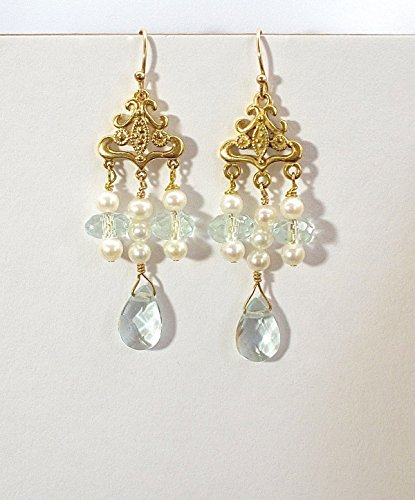 Pearl and blue glass earrings