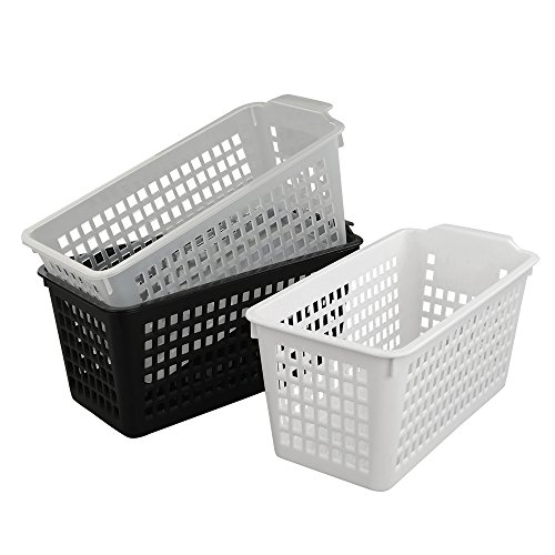 Kekow Slim Plastic Storage Trays Baskets, Set of 3 (Black, White, Clear)