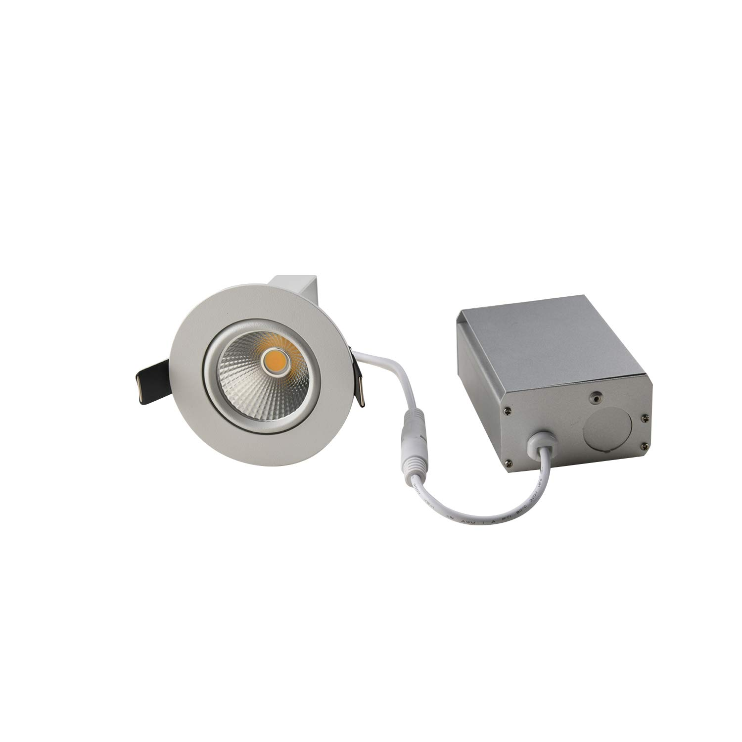 OBSESS Dimmable Recessed Ceiling Light with Junction Box, Air Tight IC Rated 8W COB LED Downlight Spotlight, White 4000K Aluminum