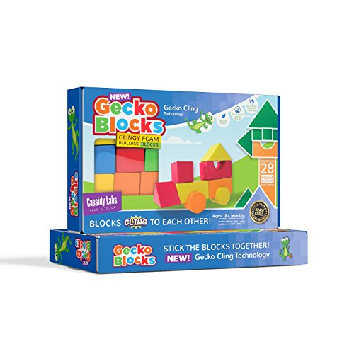 Gecko Blocks Sticky Block Construction Toy for Kids Works in Bath and on Windows by Cassidy Labs
