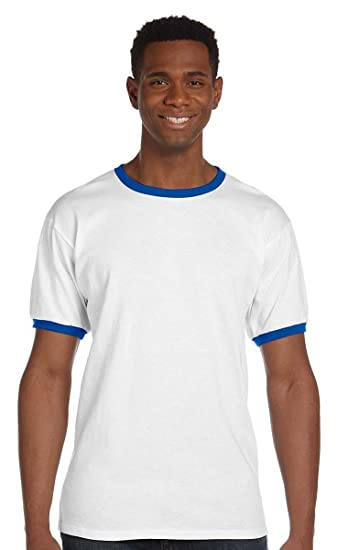 9575eaebb Anvil Youth Ringer T-Shirt - WHITE/ROYAL BLUE - S