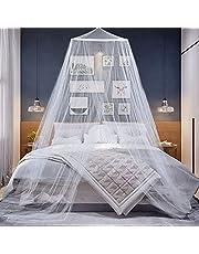 Klamboe Bed Luifel, wit koepel muggengaas, eenvoudige installatie opknoping bed luifel gaas met haak voor insectenbescherming, indoor outdoor decoratieve reizen, hoogte 230cm/90,5in
