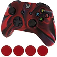 Towallmark Nuevo Funda con cubierta de silicona Controlador de piel y tapas de agarre para Xbox One (camuflaje rojo negro)