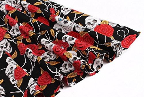 svasato casual '50 Vestito floreale vintage Red con bottoni da donna abito motivo Fairy Couple Skull anni stile DRT025 qzgx4twZ