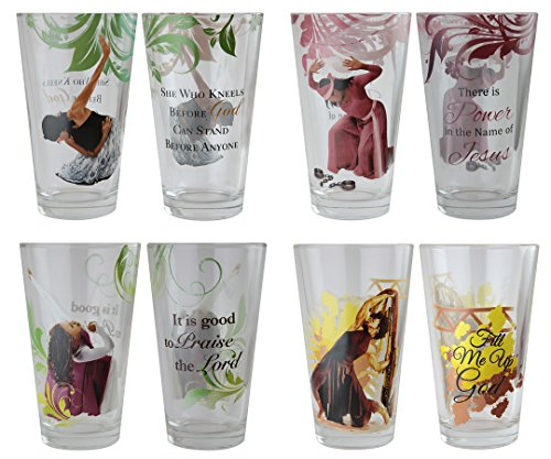"African American Expressions - Praise Dancers Drinking Glass Set (17 oz. glass, 5.75"" x 3.5"") DGL-01"