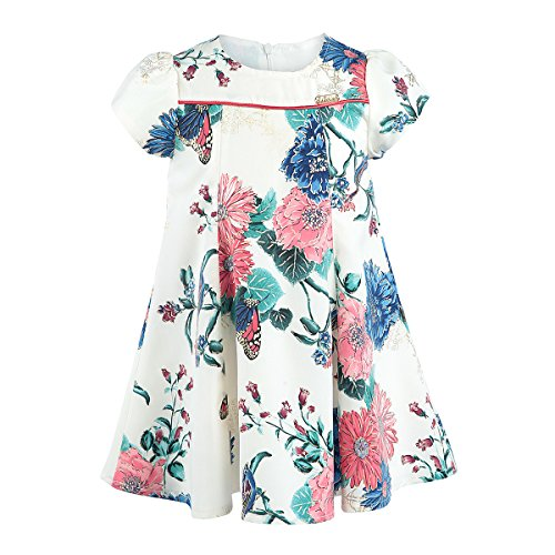 Lilax Girls' Gold Glitter Floral Dress 5T Blue (Cheap Fancy Dress Outfits)