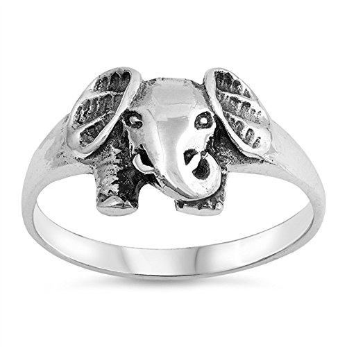 CloseoutWarehouse Oxidized Sterling Silver Elephant Ring Size 7 (Rings Elephant For Sale)