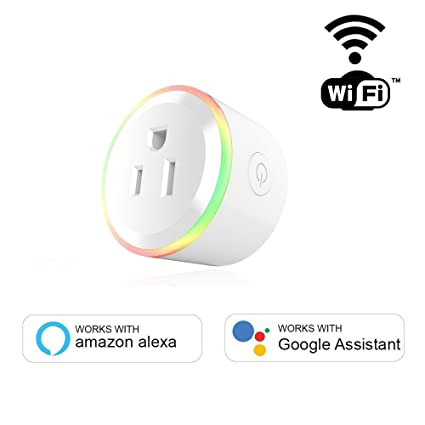 Mini RGB WiFi Smart Plug Works with Alexa Google Assistant Homekit Outlet Switch Socket for iPhone