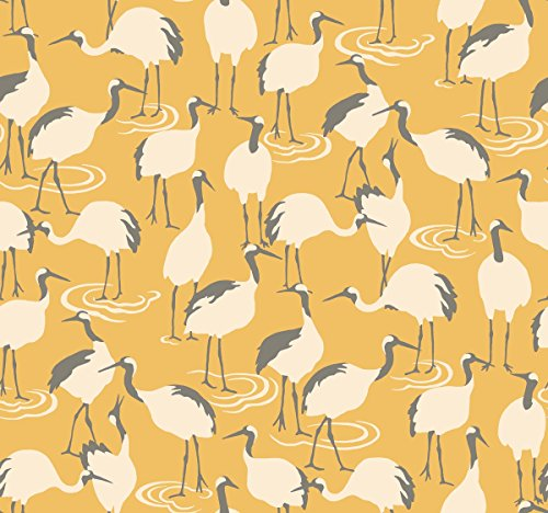 - Dwell Studio Winter Cranes Wallpaper Yellow
