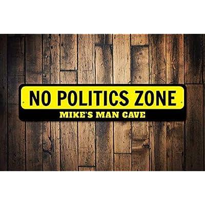HSSS Panneau en métal avec Inscription « No Politics Zone » - Cadeau de fête - pour Homme - Cave - Anti-Politique - Décoration de fête - 10 x 45 cm Cuisine & Maison