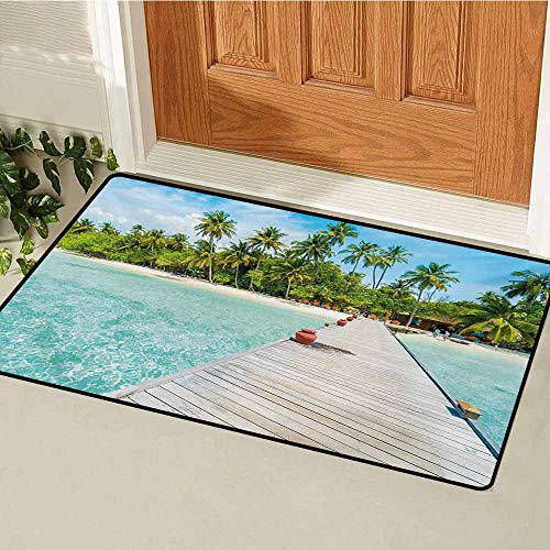 (Tropical Front Door mat Carpet Maldives Island with Beach Wooden Deck Palms Exotic Holiday Picture Machine Washable Door mat W47.2 x L60 Inch Aqua Turquoise Fern Green)