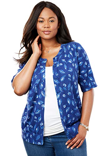 Woman Within Women's Plus Size Perfect Elbow-Length Sleeve Cardigan - Evening Blue Acorn Leaf, L - Leaves Cardigan Sweater