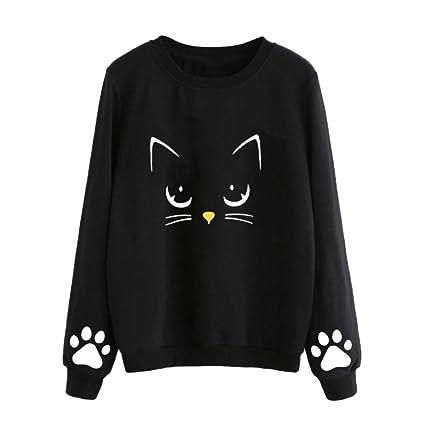 FimKaul New Womens Cute Cat Print Sweatshirt Long Sleeve Loose Pullover Shirt (S, Black