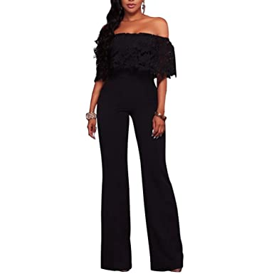 f069438b7877 Women s Off Shoulder Lace High Waisted Long Wide Leg Jumpsuits Rompers  Black S