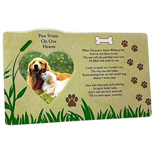 BANBERRY DESIGNS Pet Picture Frame - Death of a Dog Photo Plaque with Loving Poem About Pets - in Memory of Your Best - Poems Loving Memory
