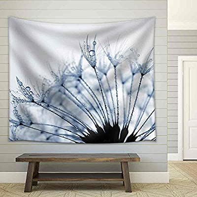 Dazzling Picture, Classic Artwork, Dewy Dandelion Flower Close Up Fabric Wall