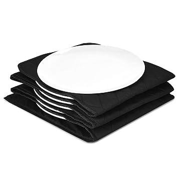 Navaris calentador de platos eléctrico XXL - Calientaplatos de 30 x 30 x 3CM y 32 CM de diámetro - De 200 vatios para calentar 10 platos - En negro: ...