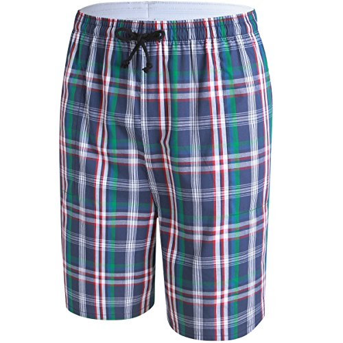 JINSHI Mens Lounge/Sleep Shorts Plaid Poplin Woven 3Pack Cotton by JINSHI (Image #4)