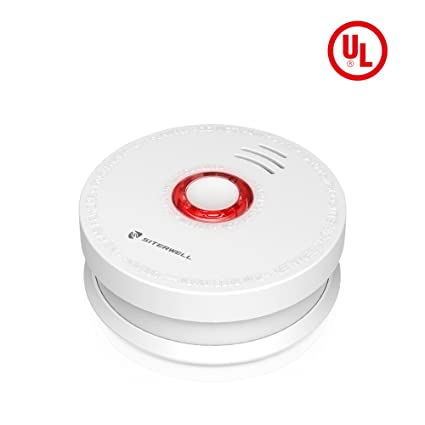 SITERWELL Smoke Detector and Battery Operated Smoke and Fire Alarm 10 Years Photoelectric Smoke Alarm with UL Listed, 9V Battery Included (GS528A)