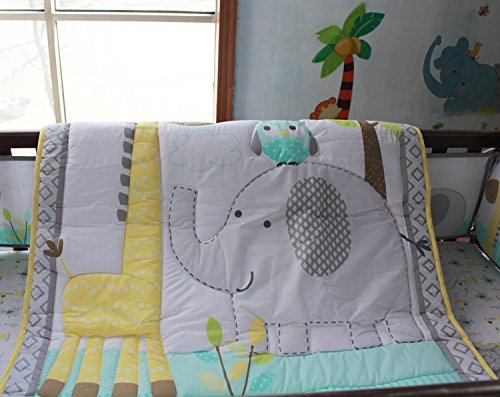 NAUGHTYBOSS Baby Bedding Set Cotton 3D Embroidery Owl Elephant Giraffe Quilt Bumper Bed Skirt Mattress Cover 7 Pieces Multicolor