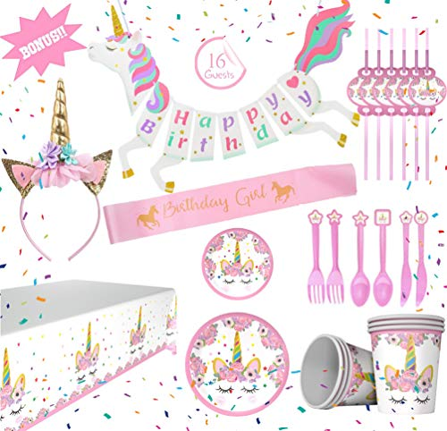 148 Pieces Unicorn Party Decorations & Supplies Gold Pink Headband Sash Serves 16 Birthday Banner Paper Plates Cups Plastic Rainbow Table Cloth Cover Utensils Straws Napkins Set for Baby Girls & Kids -