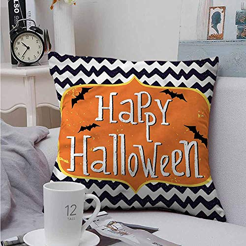 AndyTours Throw Pillow Covers Halloween Doodle Style Chevron Bats for Sofa Bedroom Car 18 X 18 -