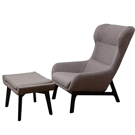 Pleasing Irene House Contemporary Linen Fabric Height Back Accent Chair Living Room Bedroom Arm Chair Taupe With Ottoman Inzonedesignstudio Interior Chair Design Inzonedesignstudiocom