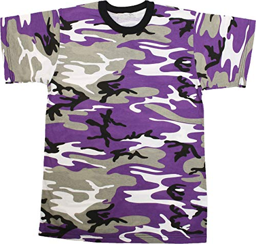 (Army Universe Purple Camouflage Short Sleeve T-Shirt Pin - Size Large (41
