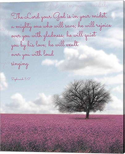 (Zephaniah 3:17 The Lord Your God (Colored Landscape) by Inspire Me Canvas Art Wall Picture, Gallery Wrap, 16 x 20)