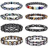 Milacolato 8Pcs Hematite Bracelet Magnetic Bracelets for Men Women Healing Stretch Bracelet Colorful