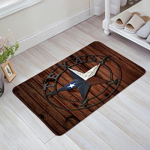 Anzona Doormats Personalized Custom Washable Entrymats Floor Rug Home Decor Non Slip Backing Rubber Rustic Old Barn Western Texas Star, 16'' x ()
