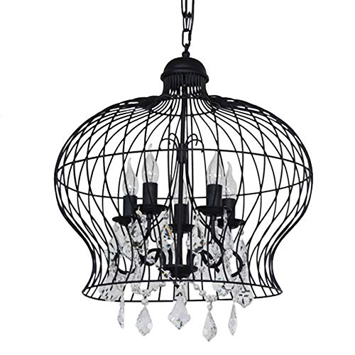 Vintage Black Wrought Iron Light Fixture: HAIXIANG Retro Black Wrought Iron Bird Cage Candle