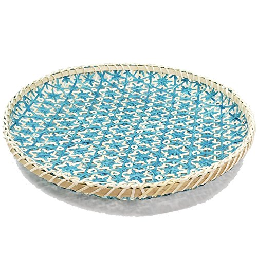 Ann Lee Designs X-Large Handmade Round Decorative Basket Tray - Teal ()
