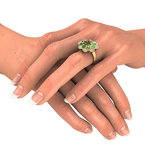 Or jaune 18K, 0.25CT TW Diamant Blanc (IJ | SI) Rubis et diamant Bague