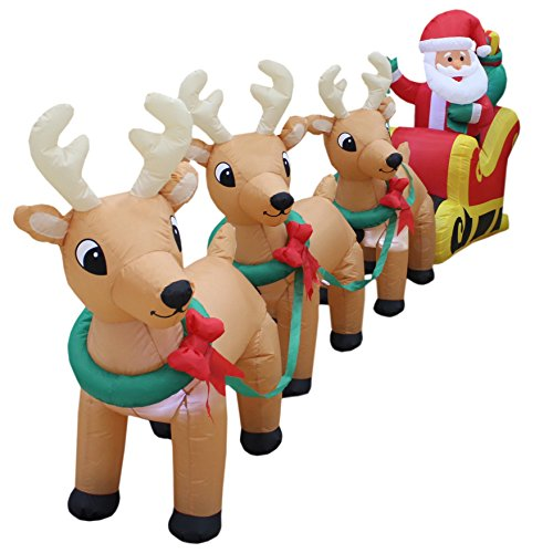 12 Foot Long Lighted Christmas Inflatable Santa Claus on Sleigh with 3 Reindeer and Christmas Tree Yard Decoration by BZB Goods (Image #1)'