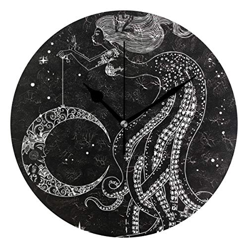 FVFV Art Mermaid Octopus Lady Circular Wall Clock Round Plate Silent Non Ticking Clock for Kitchen Bedroom Home Office School Kid Boys Girls Clocks Decor